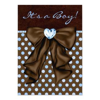 Azuis bebés e chá de fraldas de Brown Convite 12.7 X 17.78cm