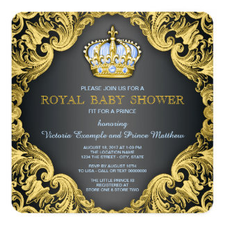 Azuis bebés extravagantes do príncipe chá de convite quadrado 13.35 x 13.35cm