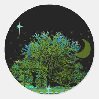Azuis da árvore adesivo redondo