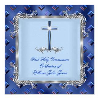 Azuis marinhos 4C da prata do comunhão santamente Convite