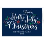 Azuis marinhos alegres do cartão de Natal | do