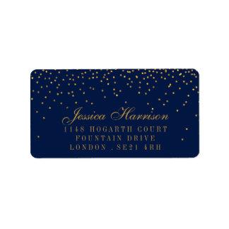 Azuis marinhos & casamento Glam dos confetes do Etiqueta De Endereço