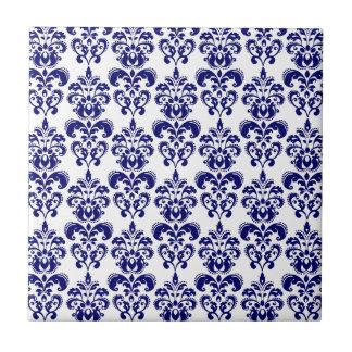 Azuis marinhos, cor damasco branca 2 do vintage