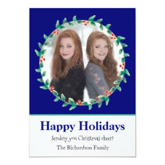 Azuis marinhos da grinalda do Natal e cartão com Convite 12.7 X 17.78cm