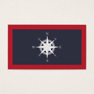 Azuis marinhos do compasso e náutico vermelho cartão de visitas