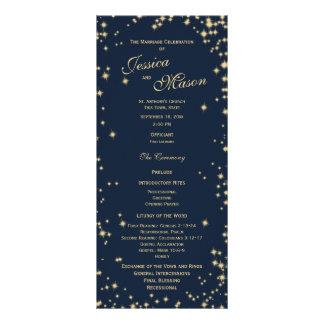Azuis marinhos e ouro da meia-noite da cintilação 10.16 x 22.86cm panfleto