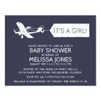 Azuis marinhos é um bebê da bandeira de avião da convite 10.79 x 13.97cm