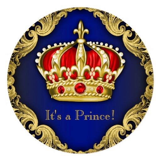 Azuis marinhos extravagantes do príncipe chá de convite personalizado