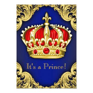 Azuis marinhos extravagantes do príncipe chá de convite 12.7 x 17.78cm