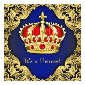 Azuis marinhos extravagantes do príncipe chá de convites personalizado