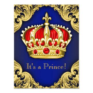 Azuis marinhos extravagantes do príncipe chá de convite 10.79 x 13.97cm