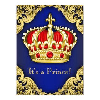 Azuis marinhos extravagantes do príncipe chá de convites personalizados