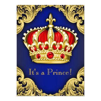 Azuis marinhos extravagantes do príncipe chá de convite 16.51 x 22.22cm