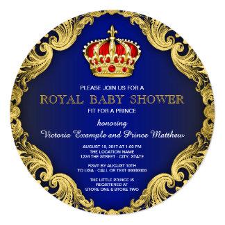 Azuis marinhos extravagantes do príncipe chá de convite quadrado 13.35 x 13.35cm