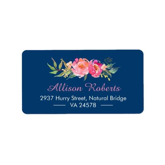 Azuis marinhos florais botânicos cor-de-rosa etiqueta de endereço