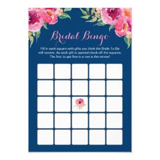 Azuis marinhos florais do rosa do jogo do Bingo do Convite 12.7 X 17.78cm
