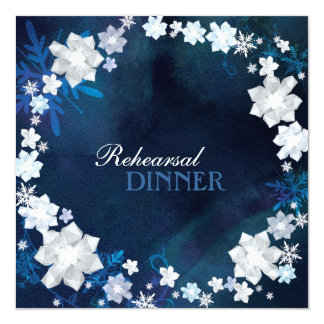 Azuis marinhos + Jantar de ensaio branco do Convites Personalizado