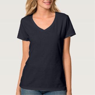 Azuis marinhos Nano do t-shirt do V-Pescoço do Han