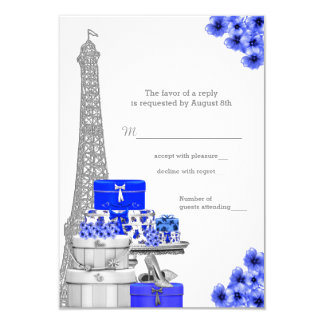 Azuis marinhos Paris RSVP Convite 8.89 X 12.7cm