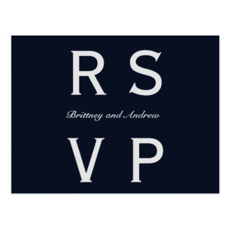 Azuis marinhos que Wedding RSVP Cartão Postal