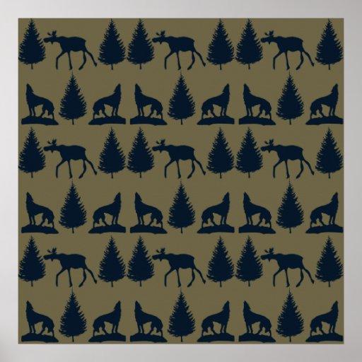 Azuis marinhos rústicos de Tan dos pinheiros selva Posters