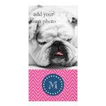 Azuis marinhos, teste padrão de Chevron do rosa qu Cartão Com Foto Personalizado