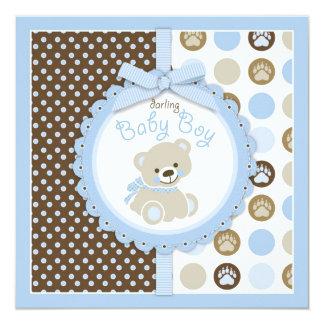 Azul 2 do chá de fraldas do menino do urso de convite quadrado 13.35 x 13.35cm
