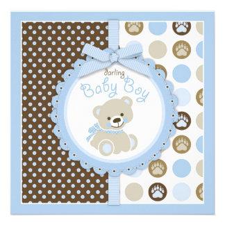 Azul 2 do chá de fraldas do menino do urso de ursi convites personalizados