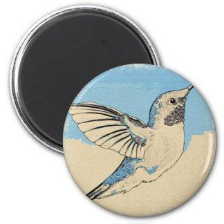 Azul 2 do colibri ímã redondo 5.08cm