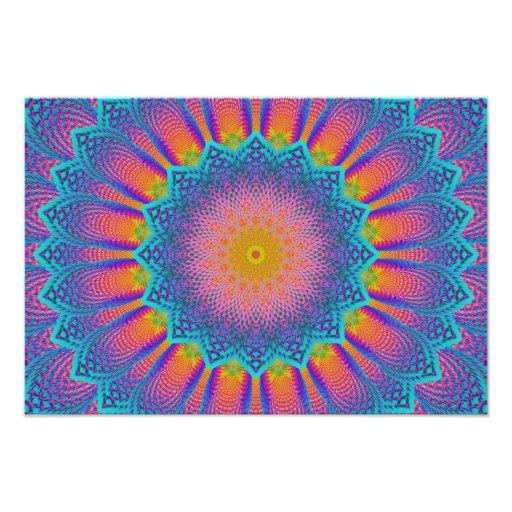 Azul abstrato do pixel do Fractal do girassol Fotografia