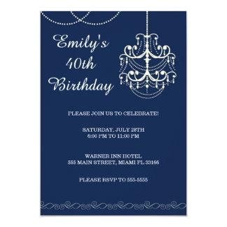 Azul adulto da festa de aniversário do convite do
