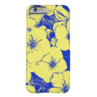 Azul amarelo ensolarado do motivo floral capa barely there para iPhone 6