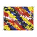 Azul amarelo vermelho brilhante listras pintadas d impressão de canvas envolvida