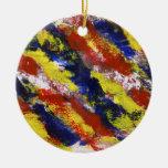 Azul amarelo vermelho brilhante listras pintadas d ornamento para arvore de natal