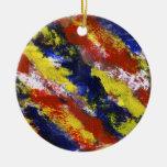 Azul amarelo vermelho brilhante listras pintadas d enfeite para arvore de natal