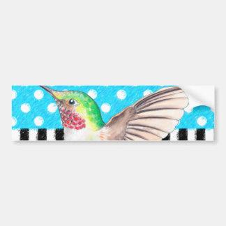 Azul artística do colibri adesivo de para-choque