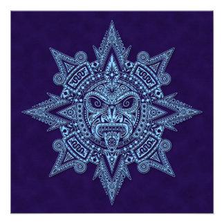 Azul asteca da máscara de Sun Convites