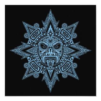Azul asteca da máscara de Sun no preto Convites Personalizado