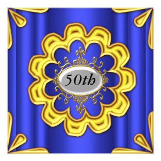 Azul azul do ouro da festa de aniversário do ouro convite personalizados