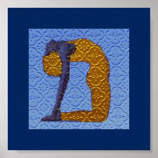 Azul boémio da deusa da ioga pôster