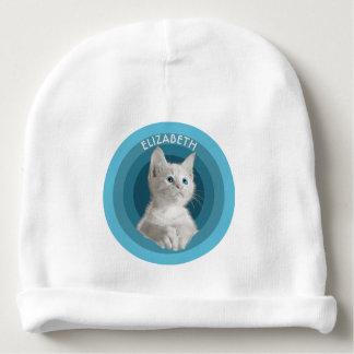 Azul bonito branco gatinho Eyed em círculos de Gorro Para Bebê