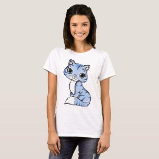 Azul bonito das mulheres da camisa do gato