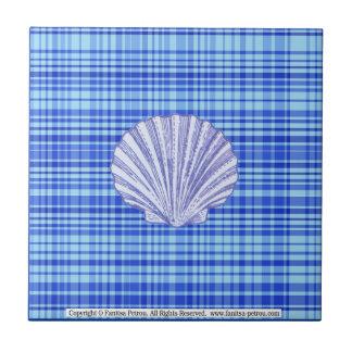 """Azul & branco, (4,25"""" x 4,25"""") azulejo 3 pequeno"""