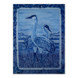 Azul & branco Cranes o poster do coelho do chacal