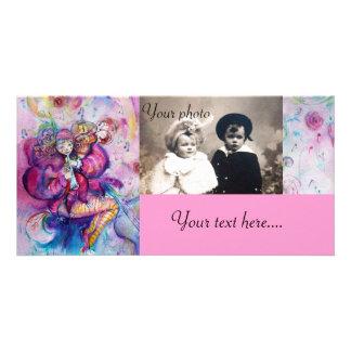 Azul branco do rosa MUSICAL do PALHAÇO Cartões Com Fotos Personalizados