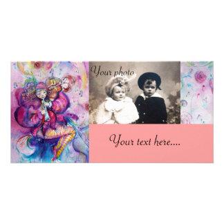 Azul branco do rosa MUSICAL do PALHAÇO Cartão Com Foto Personalizado