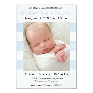 Azul/branco listra a foto - anúncio do nascimento convite 12.7 x 17.78cm