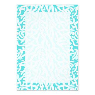 Azul branco náutico do teste padrão do recife de convite 12.7 x 17.78cm