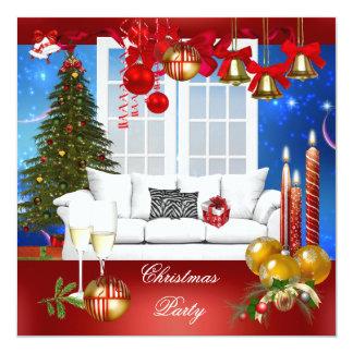 Azul branco vermelho da festa de Natal Convite Quadrado 13.35 X 13.35cm
