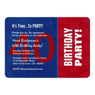 Azul branco vermelho moderno B40F do aniversário Convites Personalizado